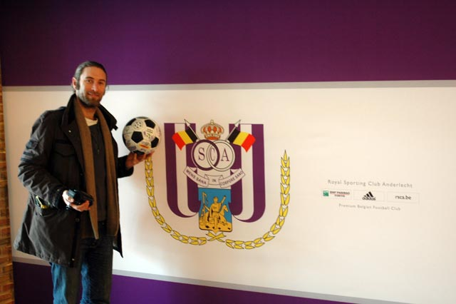Andrew with The Ball at Anderlecht
