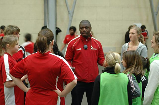 Jose Londji coaches one of the girls teams