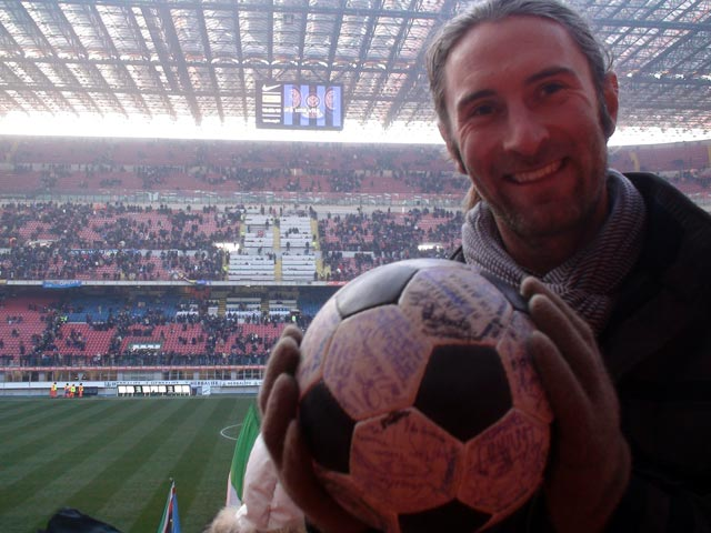 Andrew show The Ball round the San Siro