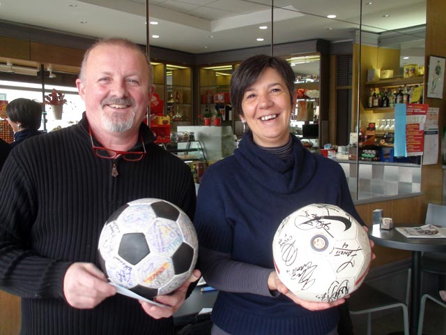 Giuseppe and Roberta with two special balls
