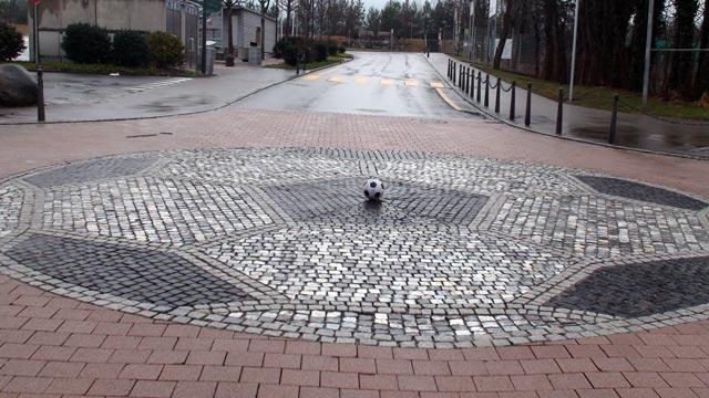 Liechtenstein street football mosaic