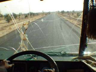 The windscreen of the bus to Kayes