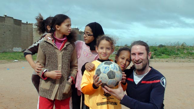 Andrew meets some of the young female footballers