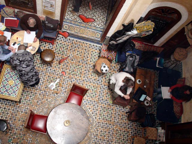 A view down on our office at Café Clock