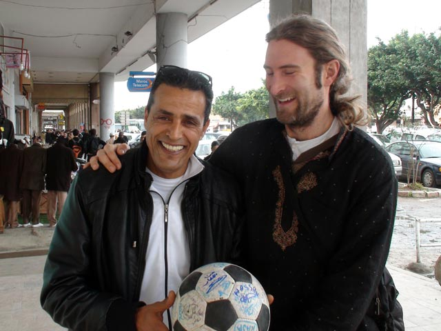 Andrew tackles Hassan in Rabat