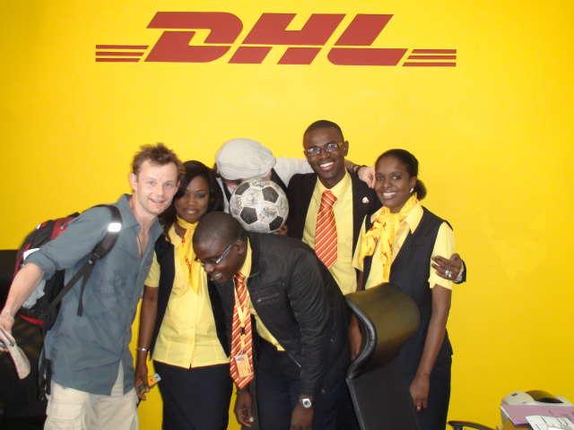 The Ball meets the friendly staff at DHL Dakar