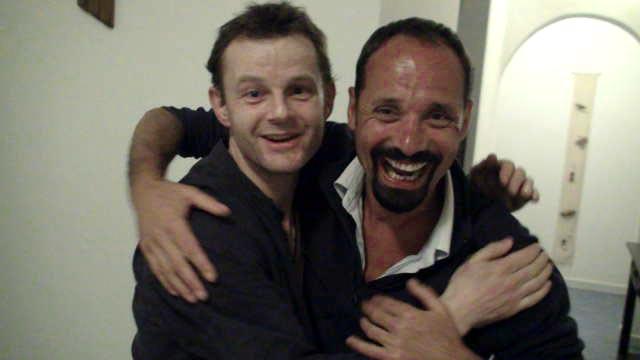 Phil and Richard meet at Dakar airport