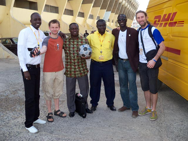 Meeting Special Olympics and DHL staff at the stadium in Dakar
