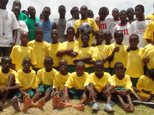 Special Olympics athletes in Benin with The Ball