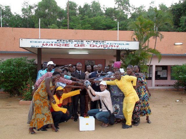 All hands on The Ball in front of Ouidah's City Hall