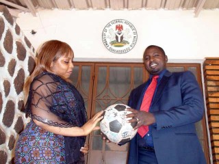 Staff at the Nigerian embassy with The Ball