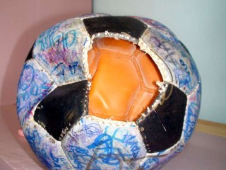 The Ball deflated and with a patch removed