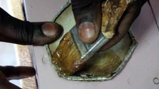 The Ball Doc. glues on a leather bandage