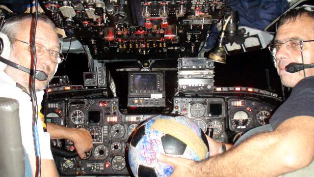 The Ball in the Russian cargo plane's cockpit