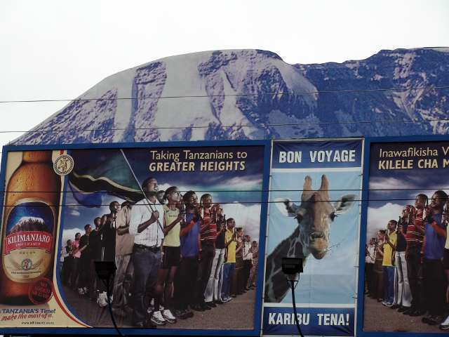 Our only view of Kilimanjaro is a sign at the airport