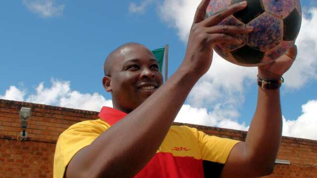 Elijah from DHL welcomes The Ball into Zambia