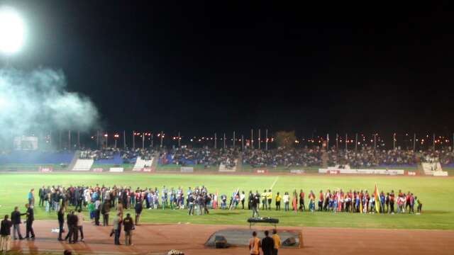 Global FC line up in the Independence Stadium