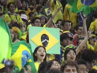 Brazil flag with face in middle