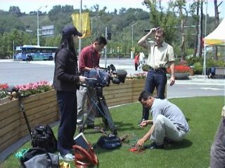 CNN set up for the interview at Seoul stadium