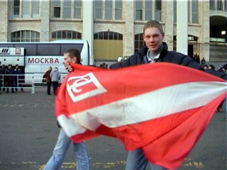 Fan with Spartak flag