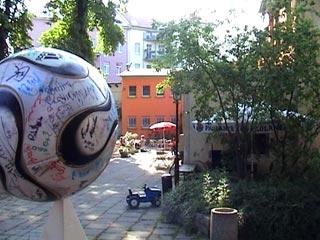 The Ball atop a pyramid at the Stadtgarten