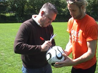 Stefan signs The Ball
