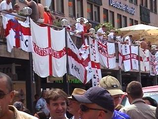 English flags hanging in the Hauptmarkt in Nürnberg