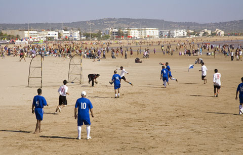 Football on the beach in Essaouira, photographed by Al Mole